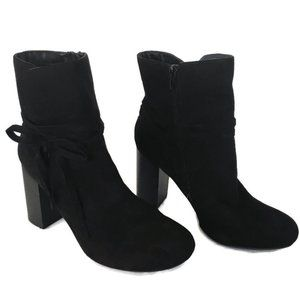 Ankle Heel Boots Booties Womens 9.5M Black Suede